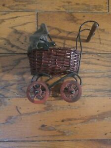 Vintage Baby Doll Pram Carriage Stroller Wicker And Original Canvas