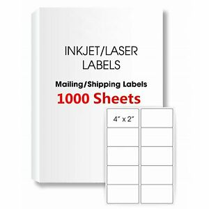 10000 2 X 4 Shipping Labels Rounded Corner Self Adhesive Mailing 10 Per Sheet