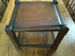 Antique Primitive Oak Joined Stool W Leather Drop In Seat Chamfered Legs Stretch