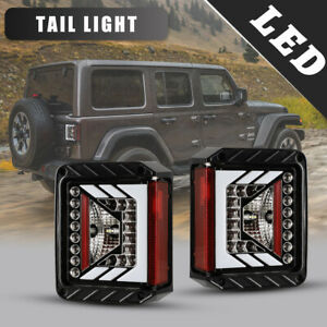 Fits 07 18 Jeep Wrangler Jk Led Tail Lights Rear Lamps 1 Pair Gloss Black clear