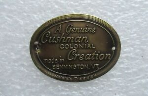 Original Cushman Colonial Creation Furniture Tag Label Brass Vintage
