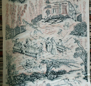 Antique Vtg Cotton Toile Fabric Unused Pink Blue Vineyard Scene 1910 Wine Making