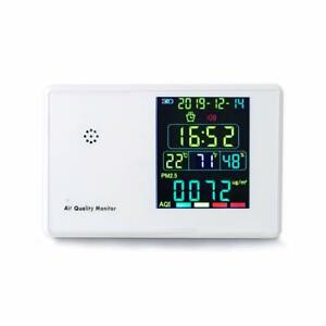 Air Quality Monitor Indoor Formaldehyde Air Detector W Lcd Display Alarm Clock