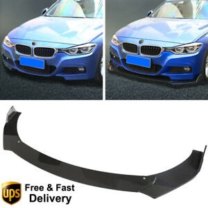 Universal 3pcs Front Bumper Lip Chin Spoiler Wing Body Kit Abs Carbon Fiber Look