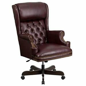 High Back Traditional Tufted Burgundy Leather Executive Swivel Chair With Arm