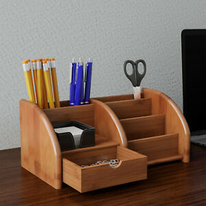 5 Compartment Bamboo Desk Organizer Wooden Office Supply Storage Accessory Home