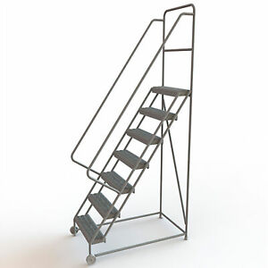7 step Steel Tilt And Roll Ladder With Serrated Steps Gray 24in Step Width