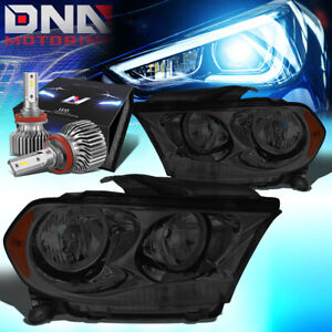 For 2011 2013 Dodge Durango Side Signal Headlight Lamps W Led Slim Style Smoked