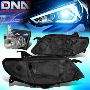For 2001 2003 Mazda Protege Oe Style Headlight Lamps W Led Kit Cool Fan Smoked