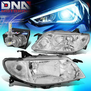 For 2001 2003 Mazda Protege Oe Style Headlight Lamps W Led Kit Cool Fan Chrome