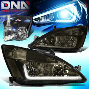 For 2003 2007 Honda Accord Led Drl Signal Headlights W led Kit Slim Style Smoked