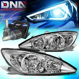 For 2002 2004 Camry Xv30 Headlight Head Lamps W led Kit cool Fan Chrome clear