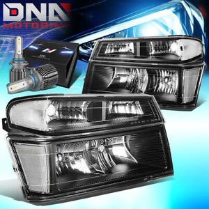 For 2004 2012 Chevy Colorado gmc Canyon Headlight Lamp W led Kit cool Fan Black
