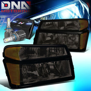For 2004 2012 Chevy Colorado Gmc Canyon Headlights W Led Kit Cool Fan Smoked