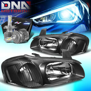 For 2000 2001 Nissan Maxima Front Headlight Lamps W Led Kit Slim Style Black