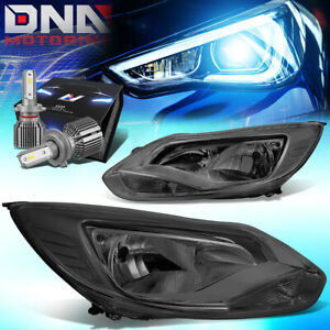 For 2012 2014 Ford Focus Mk3 Turn Signal Headlight W led Kit cool Fan Smoked