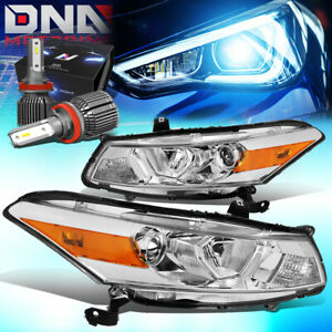 For 2008 2012 Honda Accord 2dr Projector Headlight W led Kit cool Fan Chrome