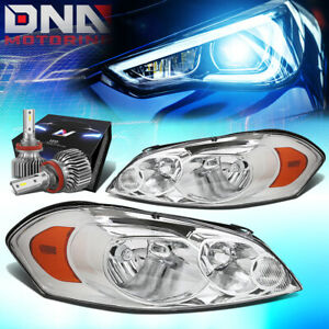 For 2006 2015 Chevy Impala Monte Carlo Headlights W Led Kit Slim Style Chrome