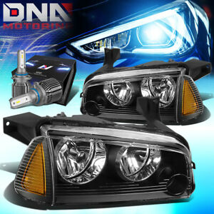 For 2006 2010 Dodge Charger Lx Turn Signal Headlights W Led Kit Cool Fan Black