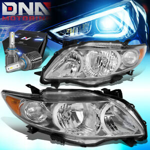 For 2009 2010 Toyota Corolla E140 Headlight Lamps W Led Hid Kit Fan Style Chrome