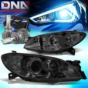 For 2004 2009 Mazda 3 Sedan 4dr Projector Headlight Lamps W Led Kit Slim Style