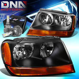 For 1999 2004 Jeep Grand Cherokee Oe Replacement Headlight W Led Kit Slim Style