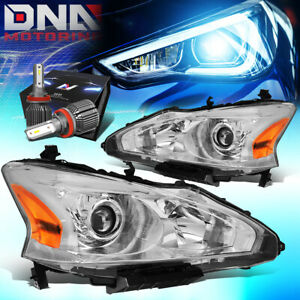 For 2013 2015 Nissan Altima 4dr Projector Headlight W led Kit cool Fan Chrome