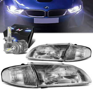 Chrome Housing Clear Corner Headlight Lamp slim Led Hid Kit For 98 99 Mazda 626