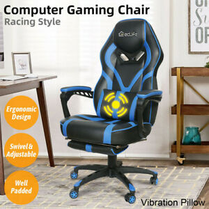 Gaming Chair Racing Leather Office Recliner Computer Desk Seat Swivel Footrest
