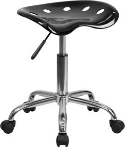 Vibrant Black Tractor Seat And Chrome Stool Lf 214a black gg