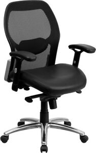 Mid back Black Super Mesh Executive Swivel Chair With Leather Seat Knee Tilt