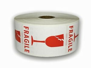 2x3 White Red Cracked Glass Fragile Labels 1000 Stickers Per Roll