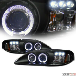 Fits 1994 1998 Mustang Blk Housing Led Halo Projector Headlights corner 1pc Amb
