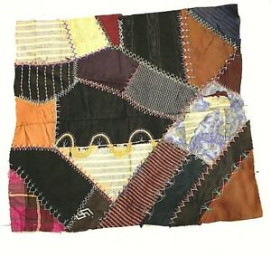 Antique Victorian 1800 S Hand Stitched Embroidered Crazy Quilt 18 Inches