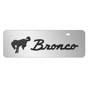 Ford Bronco 3d Logo On Chrome 12 x4 Half size Stainless Steel License Plate