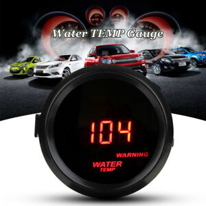 2 52mm Red Digital Led Water Temp Temperature Meter Gauge Sensor Car 12v