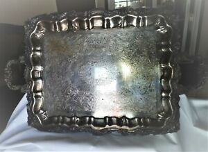 Vintage Heavy Large Sheridan Silver Plated Ornate Serving Tray 25x16 Hallmarks