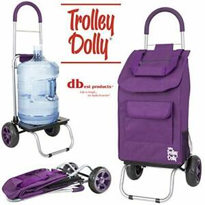 Dbest Products Trolley Dolly Purple Shopping Grocery Foldable Cart Purple
