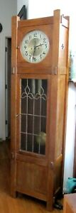 Antique Late 19c Country Mission Style Seth Thomas 2 Weight Grandfather Clock