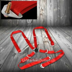 4 Point 2 Red Harness Universal Camlock Strap Drift Racing Safety Seat Belt