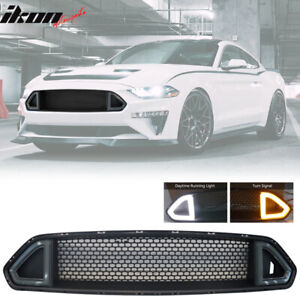 Fits 18 20 Ford Mustang Upper Grille With Drl Yellow Turn Signal Smoke Led Light