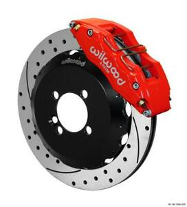 Disc Brakes Dynapro 6 Big Brake Front Cross drilled slotted Rotors 6 piston Red