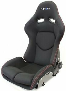 Nrg Rsc 400bk Reclinable Frp Bucket Seat Black Cloth Red Stitching With Black