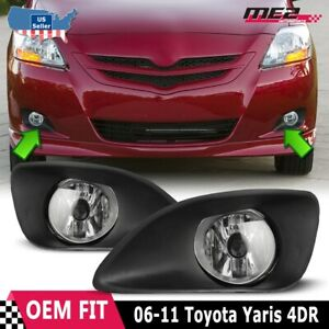 For Toyota Yaris 06 11 Factory Replacement Fit Fog Lights Wiring Kit Clear Lens