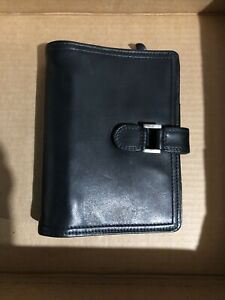 Franklin Covey Quest 6 Ring Binder Small Planner Black Nappa Leather Gently Used