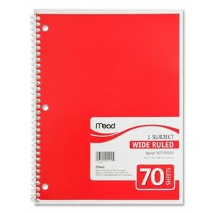 Mead Spiral Notebook 1 subject wide Rule 70 Sh 10 1 2 x8 ast Case Pack 21