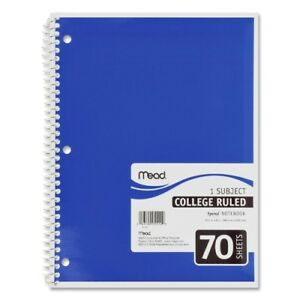 Mead Spiral Notebook 1 subject college Rule 70 Sh 10 1 2 x8 ast Case Pack 21