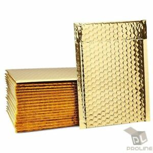 100 2 Glamour Metallic Gold Poly Bubble Shipping Mailers Envelopes Bags 8 5x12