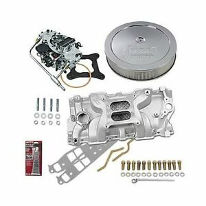 Sbc Chevy 350 Stage 2 Intake Manifold 600 Cfm V s Carb Air Cleaner Combo