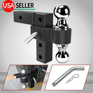 6061 Aluminum 6 Adjustable Receiver Trailer Hitch Towing W 2 2 5 16 Ball